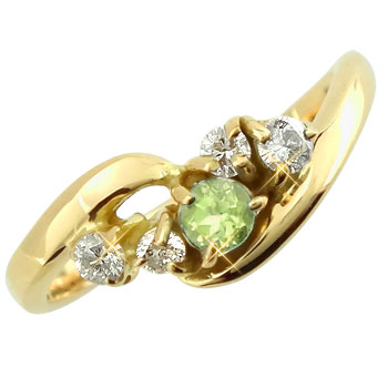【送料無料】ピンキーリング:ペリドットダイヤモンドリング:ピンクゴールドK18:指輪:K18PG【工房直販】