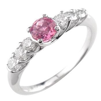 【工房直販】指輪:ピンクトルマリン:ダイヤモンド:ピンキーリング:ホワイトゴールドK18:K18WG:10月の誕生石トルマリン【送料無料】