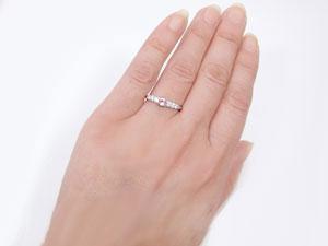 【送料無料】指輪,K18WG,ピンクトルマリン,ピンキーリング
