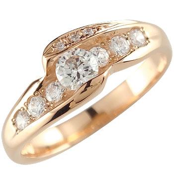 ダイヤモンド リング 指輪 ピンクゴールドk18 婚約指輪 エンゲージリング