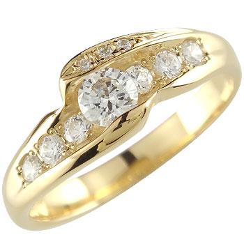 ダイヤモンド リング 指輪 イエローゴールドk18 婚約指輪 エンゲージリング