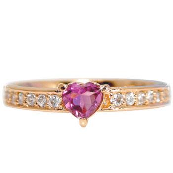 【送料無料】ピンキーリング:ピンクトルマリン:ダイヤモンド:リング:ピンクゴールドK18:ハートモチーフ:指輪:K18PG:特別価格【工房直販】