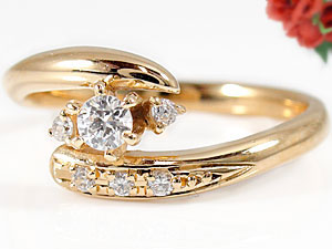指輪,ピンクゴールドK18,天然ダイヤモンド