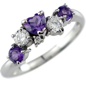 【送料無料】ホワイトゴールドK18アメジストダイヤモンドリング指輪【工房直販】