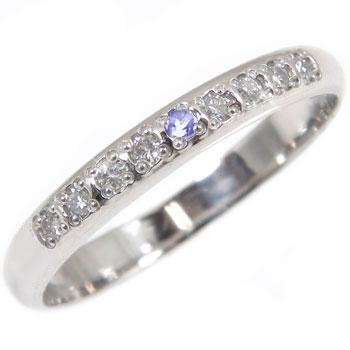 指輪 タンザナイト ダイヤモンド ピンキーリング ホワイトゴールドk18【工房直販】