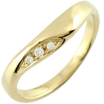 V字 婚約指輪 エンゲージリング ダイヤモンド イエローゴールドk18