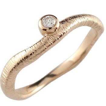 婚約指輪 エンゲージリング ダイヤモンド 一粒ダイヤモンド ピンクゴールドk18