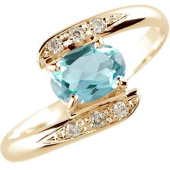 ブルートパーズ ダイヤモンド リング 指輪 ピンクゴールドk18 11月誕生石