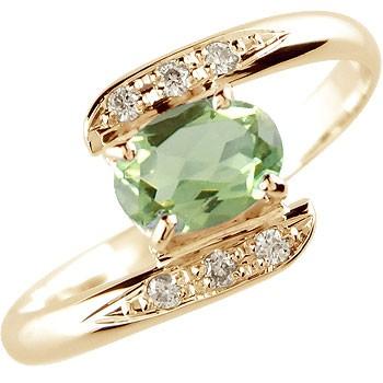 ペリドット ダイヤモンド リング 指輪 ピンクゴールドk18 8月誕生石