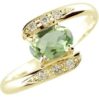 ペリドット ダイヤモンド リング 指輪 イエローゴールドk18 8月誕生石