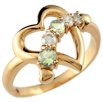 オープンハート プラチナ リング ペリドット ダイヤモンド 指輪 ピンキーリング
