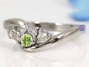 ペリドットダイヤモンド指輪