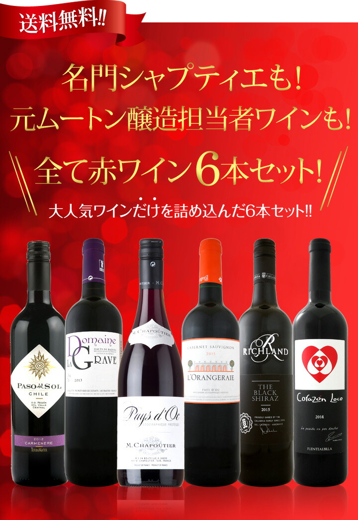 【送料無料】全て赤ワイン6本セット!