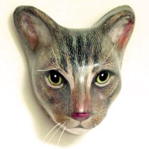 インテリア/壁掛け/アートならペーパーマッシュ/Macheanimal/キジ猫 丁寧に作られた紙の張り子