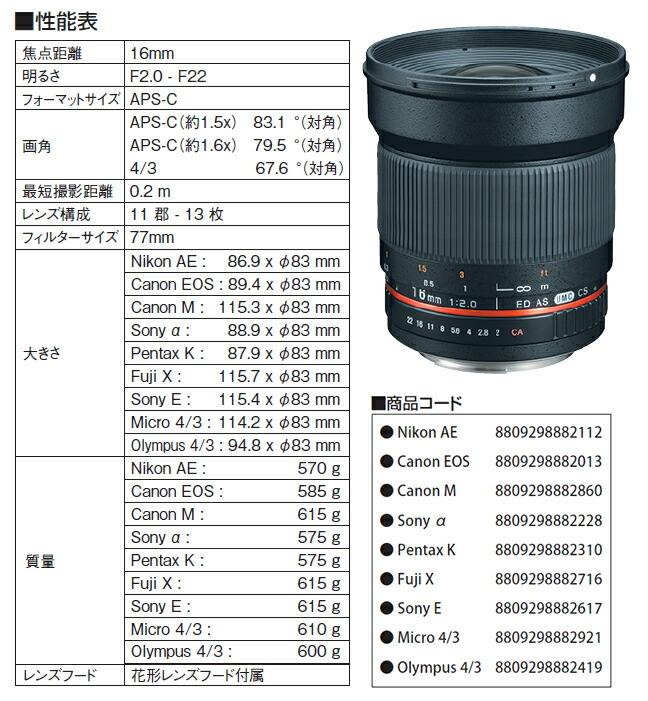 SAMYANG (サムヤン)16mm F2.0 ED AS UMC CSレンズ仕様