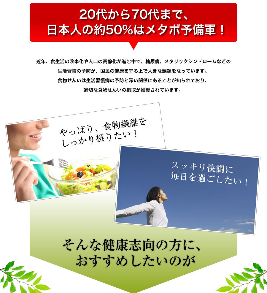20代から70代まで、 日本人の約50%はメタボ予備軍!