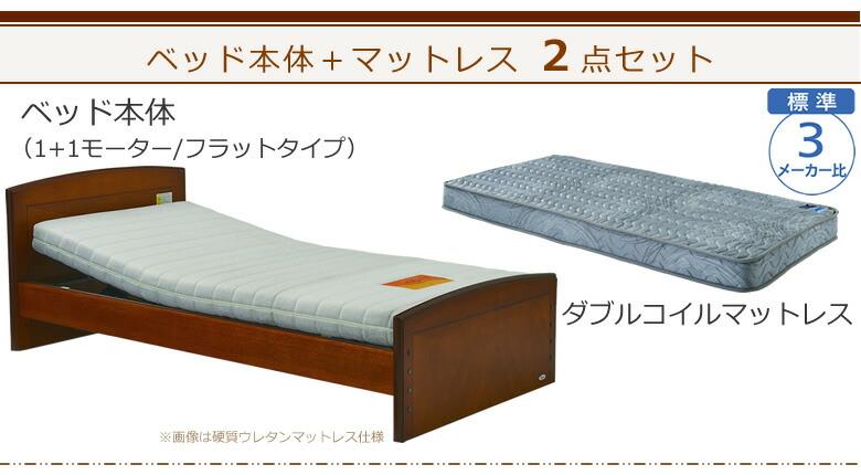 ベッド本体+ダブルコイルマットレスの2点セット ケアレットフォルテ2