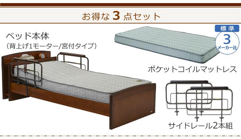 ベッド本体+ポケットコイルマットレス+サイドレールの3点セット ケアレットフォルテ2
