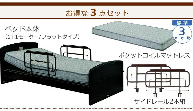 ベッド本体+ポケットコイルマットレス+サイドレールの3点セット ケアレットネオアルファ2