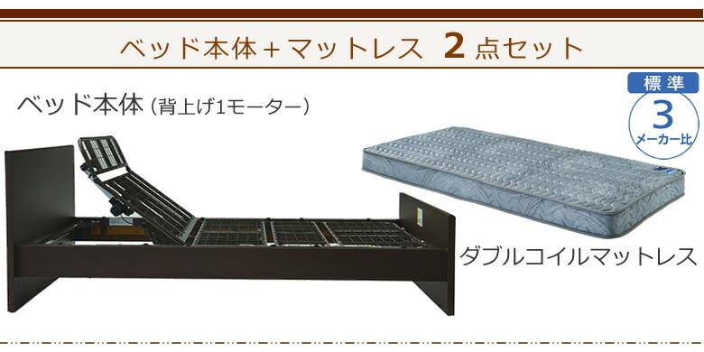 ベッド本体+ダブルコイルマットレスの2点セット ケアレットシンプリー