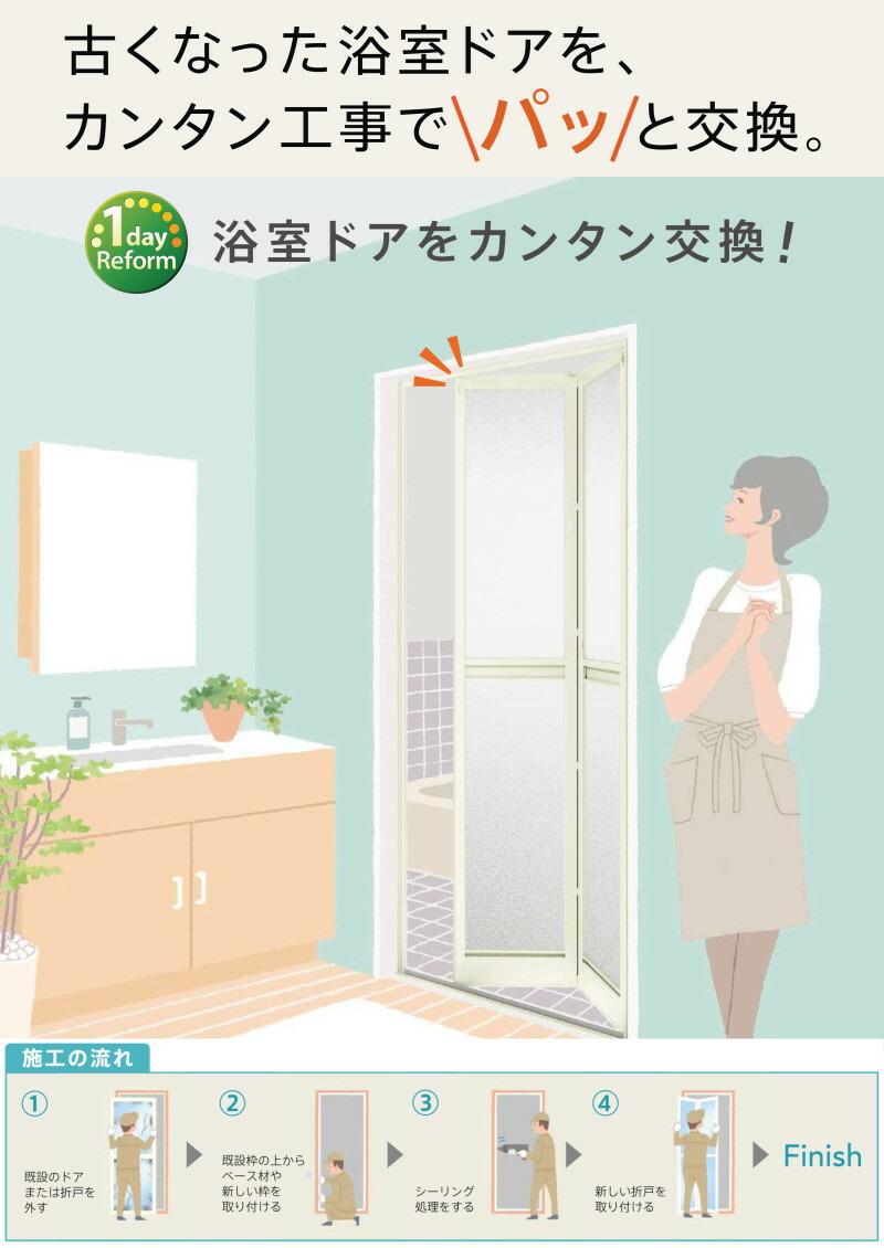 リクシルのリフォーム用浴室ドアアタッチメント工法中折れドア