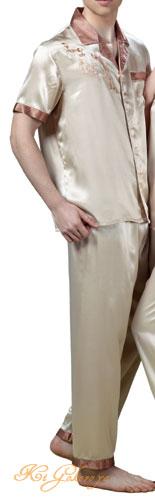 メンズシルク100%パジャマ 無地と雷紋(半袖/ベージュ)