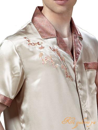 メンズ絹100%パジャマ 無地と雷紋(半袖/ベージュ)