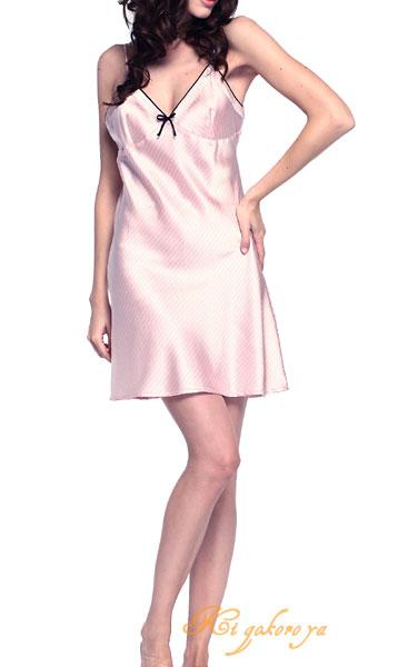 スリップ(ピンク)ストライプ シルク100% 絹