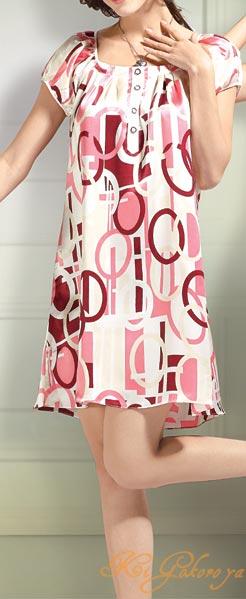 幾何学柄 19匁絹100% ボートネックネグリジェ(ピンク)