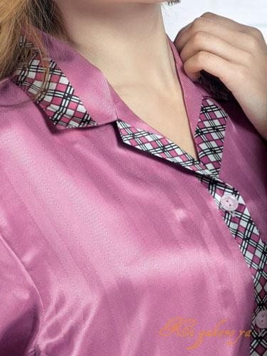 レディースシルクパジャマ 絹100%(長袖/赤紫)\チェック&ストライプ柄