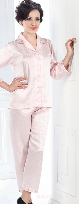 ドットジャガード19匁絹(9分長袖裾)ピンク