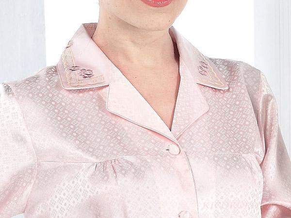ドットジャガード シルクパジャマ ピュアピンク