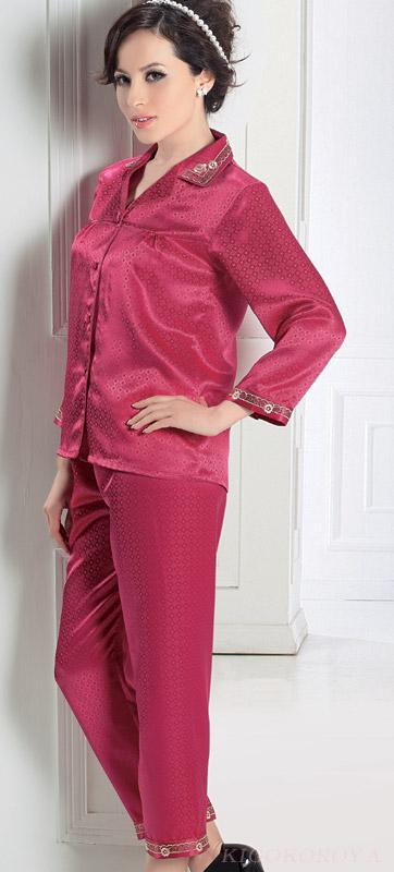 丸柄ジャガード 絹パジャマ ローズピンク