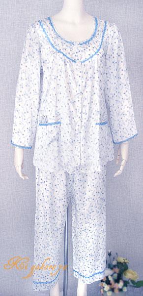 ミニレース小花柄 絹100% シルクパジャマ(長袖/ブルー)