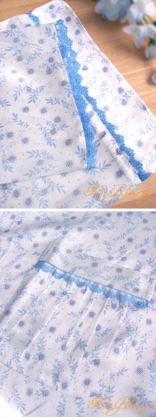 絹100% シルクパジャマ(長袖/ブルーレース)