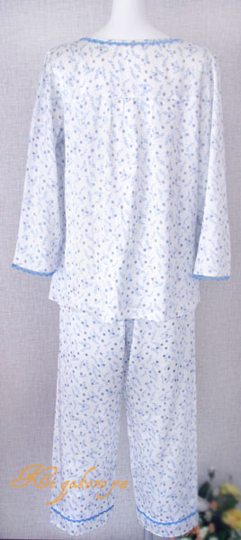 絹100% シルクパジャマ(長袖/青色)