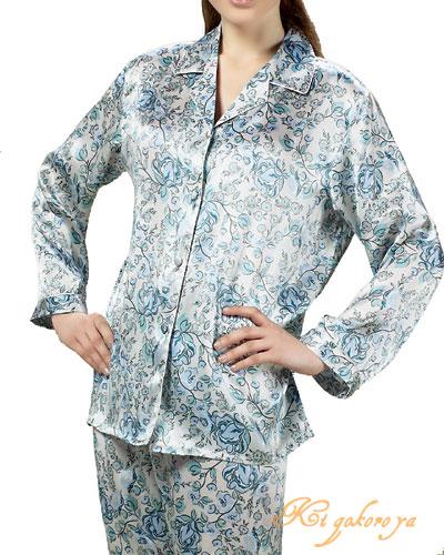 シルクパジャマ レディース 絹100% 花柄 長袖/ブルー