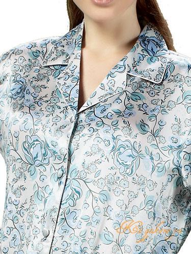 シルクパジャマ レディース 絹100% 花柄 長袖/青色
