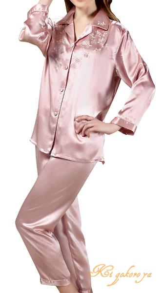 シルクパジャマ レディース 絹100% 花刺繍 長袖/なでしこ