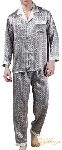 シルクパジャマ メンズ 絹100% 星柄(長袖/灰色)