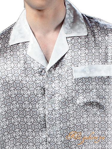 シルクパジャマ メンズ 絹100% スター(長袖/グレー)