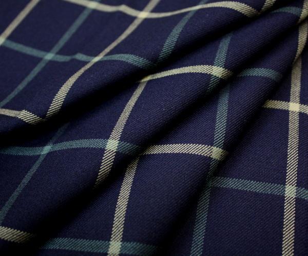 日本製上質ウール/ポリエステル混綾織りツイル先染めウィンドペンチェック(グラフチェック)・ネイビー地♪W巾150cm防縮加工布生地布地服地通販ウールウール生地チェック柄チェック10cm単位毛