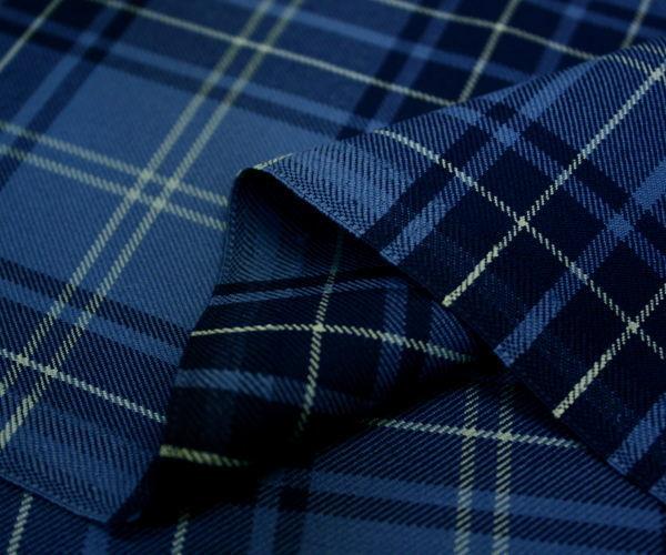 日本製ウール/ポリエステル混綾織りネイビー&ブルー系タータンチェック生地♪スカート,パンツ,ジャケットに♪W巾150cm 布 生地 布地 服地 通販  チェック ウール生地 10cm単位カット チェック柄 ツイル 毛