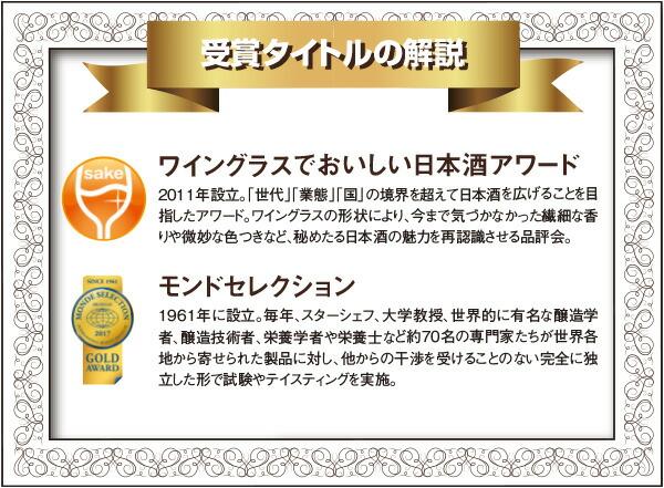 受賞タイトルの解説 「ワイングラスでおいしい日本酒アワード」「モンドセレクション」