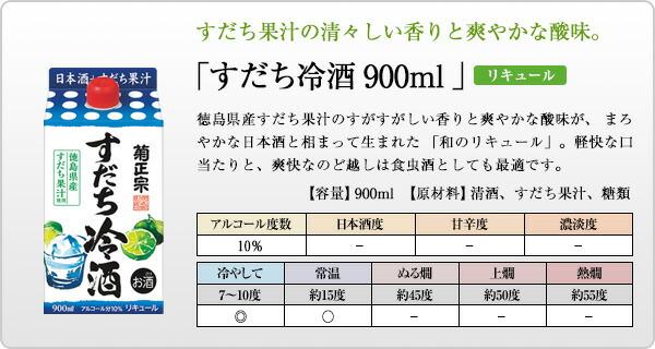 「菊正宗 すだち冷酒 900mlパック」