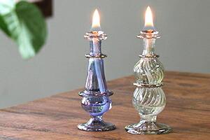 エジプト香水瓶ブルー&グリーン オイルランプ2点セット