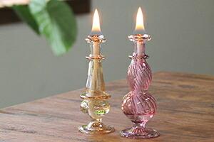 エジプト香水瓶イエロー&ピンク オイルランプ2点セット