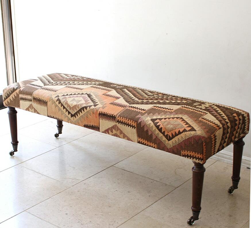 オールドキリムの木製家具スツール/オットマンレクタングル・キャスター