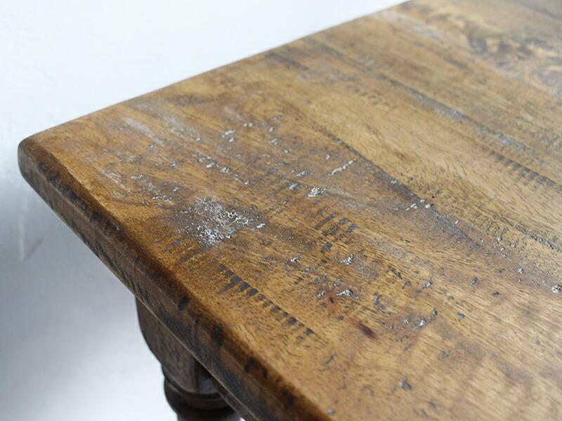 ウッドデスク・アンティークスタイルテーブル68x45cm/マンゴーウッド(組み立て式)
