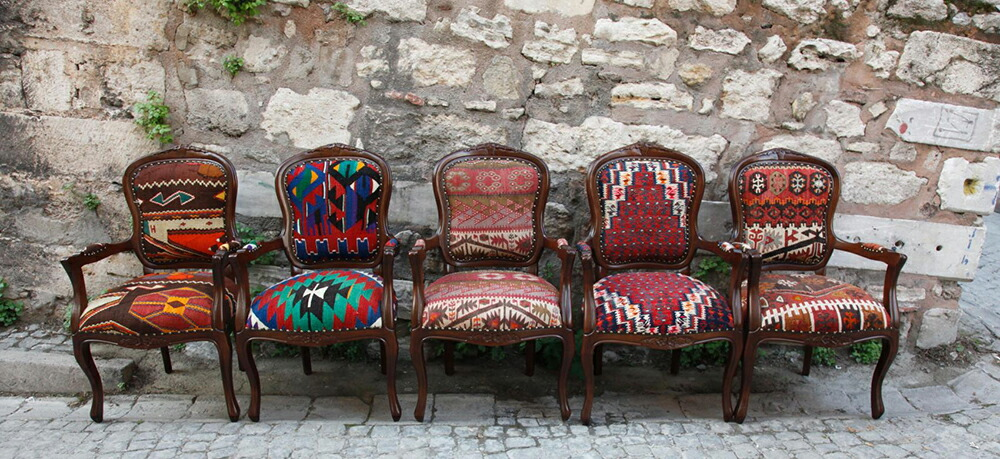 Wooden furniture covered with Kilims
